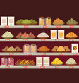 stall or stand at store with barley and rice vector image