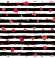 Stripe Pattern Black and White with Painted Hearts vector image vector image