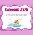 Swimming star certificate template with girl