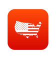usa map icon digital red vector image
