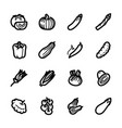 vegetables icons - tomato cucumber and chili vector image vector image