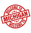 welcome to michigan red stamp vector image vector image