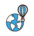 world planet earth with balloon air vector image vector image