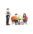 young couple having dinner in a restaurant vector image