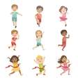 Kids In Running Competition Set vector image