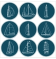 Set of 9 sailboats isolated on white vector image