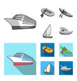 a rubber fishing boat a kayak with oars a vector image vector image