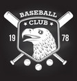 baseball club badge on the chalkboard vector image vector image
