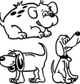 black and white dogs vector image vector image