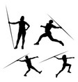 black silhouette throwing a spear on a white vector image