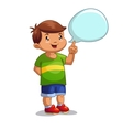 Boy with speech bubble vector image vector image
