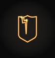 broken shield neon icon in line style vector image