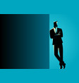 businessman leaning at dark blank space vector image vector image