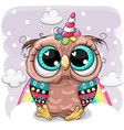 cartoon owl with horn a unicorn on clouds vector image vector image