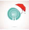 christmas dinner plate wearing christmas red hat vector image