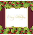 christmas holly ornament vector image vector image