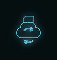 cloud folder sync neon icon web development icon vector image