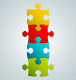 colorful puzzle pieces vertical structure vector image