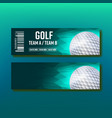 colorful ticket on golf tournament template vector image vector image