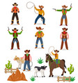 cowboy western cow boy or wild west sheriff vector image vector image