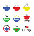 Curry Indian spicy food icons set vector image vector image