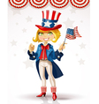 Cute blond girl in a suit of Uncle Sam