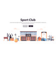 different fitness equipment gym tools set training vector image