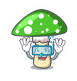 diving green amanita mushroom character cartoon vector image vector image