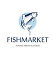 fish market logo retro badge blue silhouette vector image