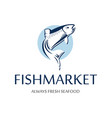 fish market logo retro badge of blue silhouette vector image