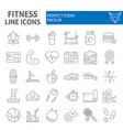 fitness thin line icon set sport symbols vector image