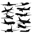 flight aviation icons airplane black vector image vector image