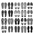 footprint shoes top view black icon set isolated vector image vector image