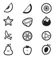 fruit cut slice icons vector image