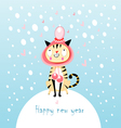 funny cat in winter vector image vector image