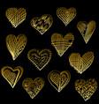 golden hearts set vector image