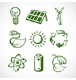 Green energy sketch icons vector image vector image