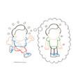 hand-drawn cartoon of running man dreaming of vector image