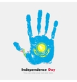 Handprint with the Flag of Kazakhstan in grunge vector image