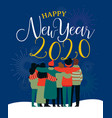 happy new year 2020 card friend group hug vector image vector image