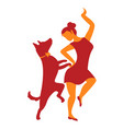 Icon with girl and dog with dancing