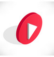 isometric play video icon shadow vector image vector image