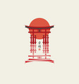 japanese banner with torii gate and rising sun vector image
