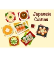 Japanese cuisine sushi and soups for dinner menu vector image vector image