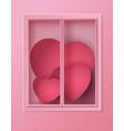 many heart inside the window vector image