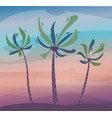 palms on island sky and sunset cartoon vector image vector image