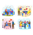 people giving gifts on birthday and anniversary vector image vector image