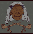 Red Indian face with peace-pipes vector image vector image