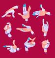 robot hand gestures in different positions set vector image vector image