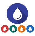 round icon of a water drop flat style with long vector image vector image